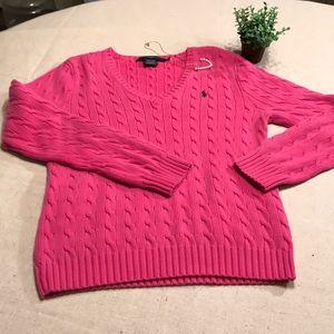 Ralph Lauren Sport XL pink v-neck cable sweater